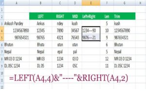 LEFT + Right के String Functions
